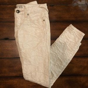Free People Floral Textured White Jeans
